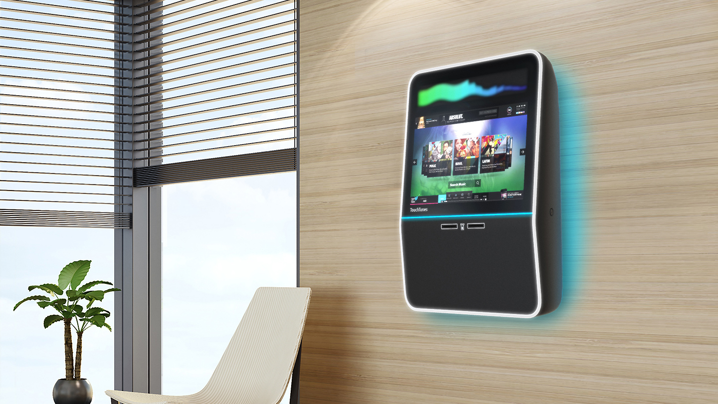wall-mount Touchtunes digital jukebox for in-venue entertainment