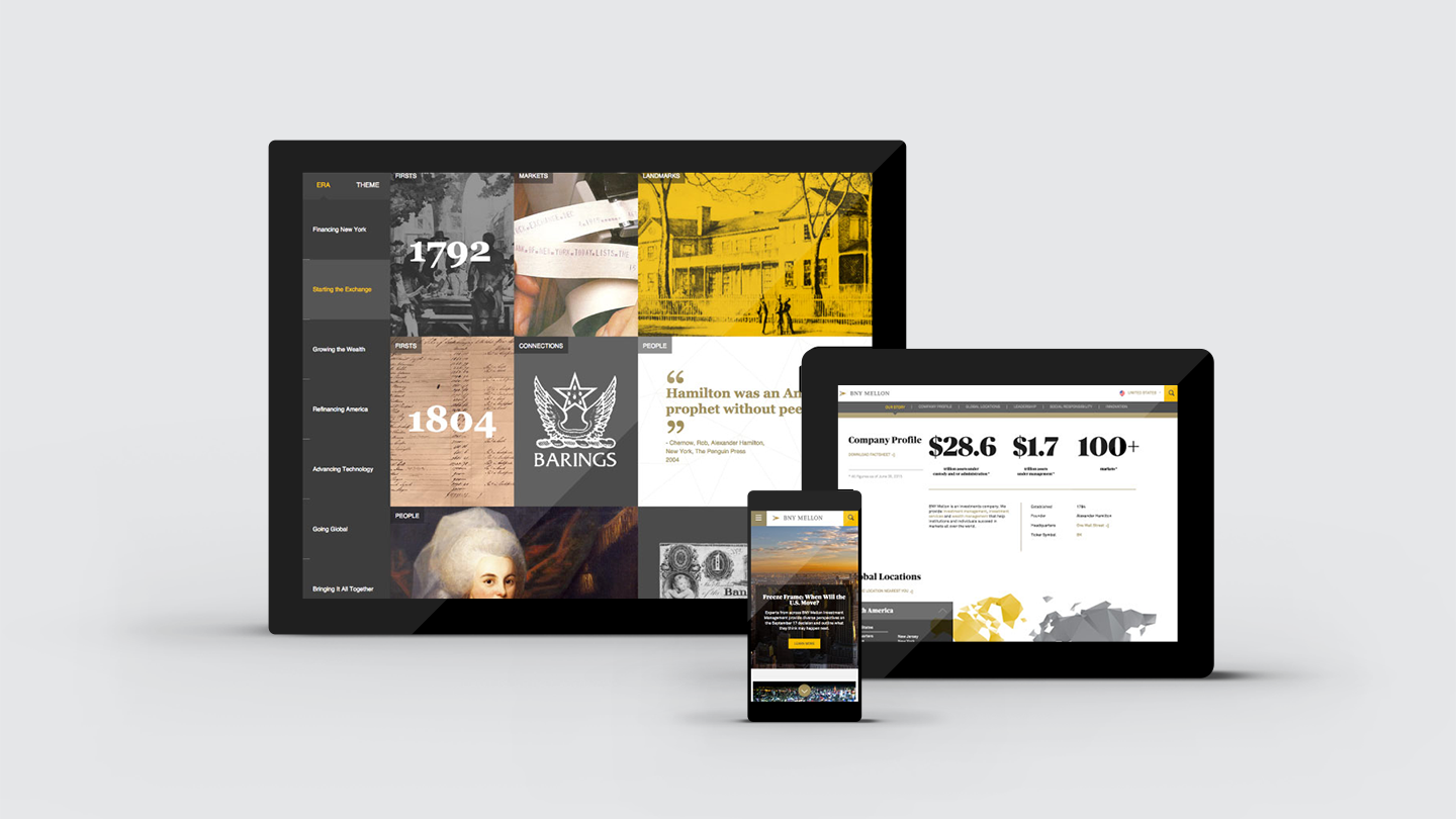 BNY Mellon digital-first brand experience design: website interface